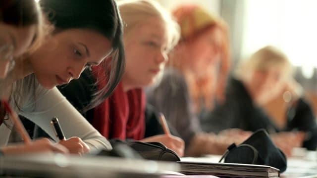 Schülerinnen folgen dem Unterricht und machen sich Notizen, aufgenommen am 17. Mai 2004 in einer Mittelschulklasse der Rudolf Steiner Schule St. Gallen.