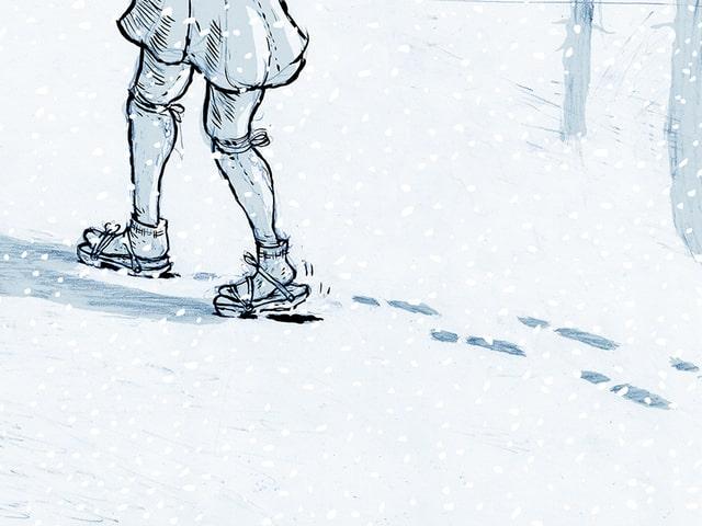 Die Illustration zeigt eine Person, die durch den Schnee stapft.