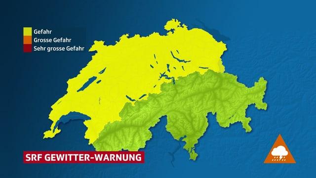 Warnkarte fürs Flachland und Jura.