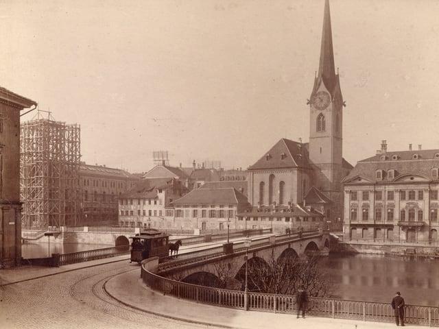 Ein altes Foto des Zürcher Rösslitrams.