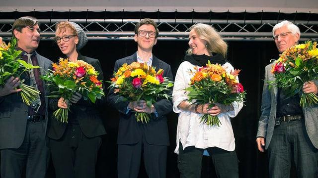 Alain Claude Sulzer, Sibylle Berg, Thomas Meyer Ursula Fricker und Peter von Matt an der Verleihung des Schweizer Buchpreises 2012.