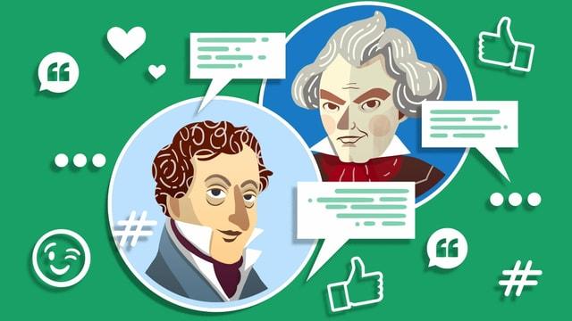 Illustration von Beethoven und seinem Arzt