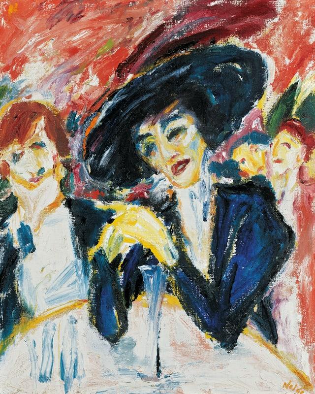 Ein Gemälde: eine Frau mit Hut im Vordergrund, neben ihr steht ein Mann, im Hintergrund sind zwei Frauen.