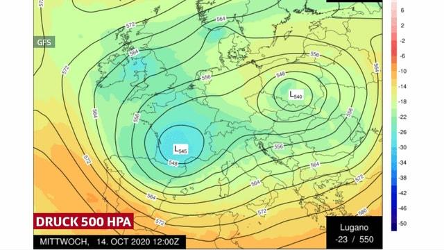 Die Höhenkaltluft liegt am Mittwochmittag über Südpolen.