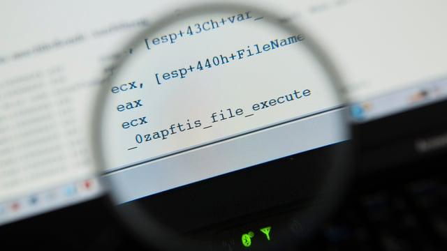 Lupe über einem Text auf einem Computerbildschirm.