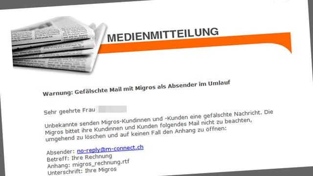 Medienmitteilung von Migros.