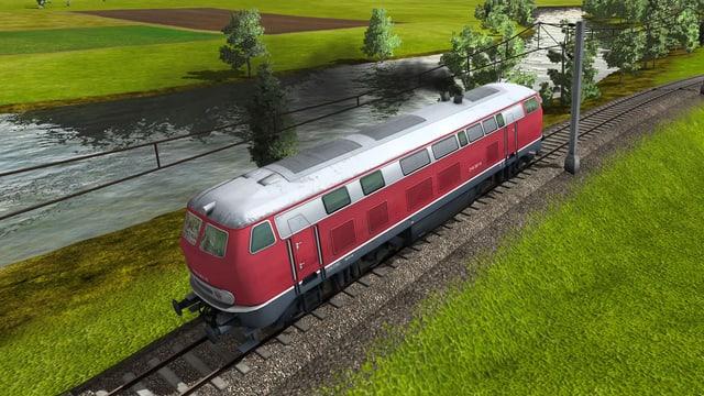 Eine vierachsige Diesellokomotive Baureihe 218 der Deutschen Bundesbahn.