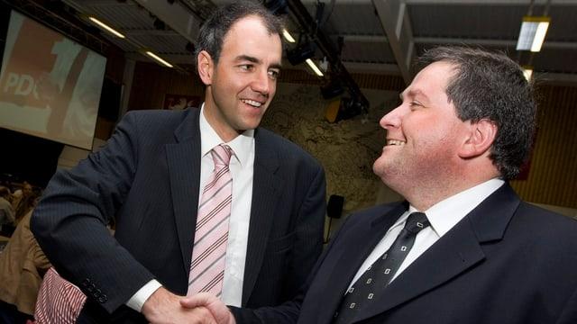 Früheres Rennen um Regierungskandidatur: Darbellay und Voide im  Mai 2008 in Saxon.