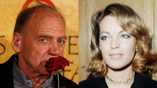 Bruno Ganz riecht an einer Rose. Romy Schneider lächelt.