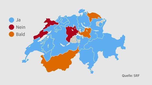 Karte mit den Kantonen.