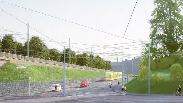 Visualisierung der neuen Tramverbindung.