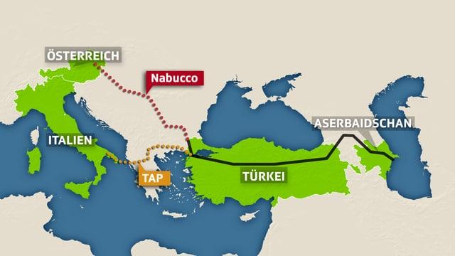 Grafik der geplanten Nabucco- und TAP-Pipeline. (srf)