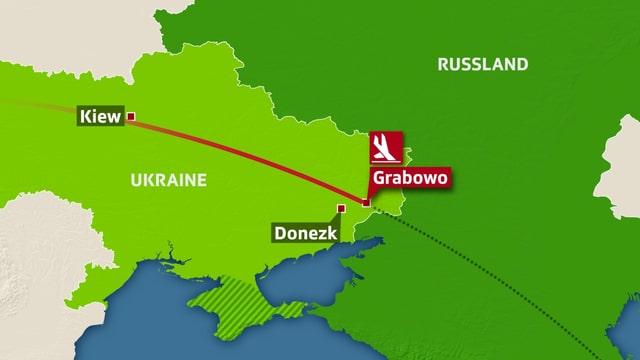 Karte der Ukraine.