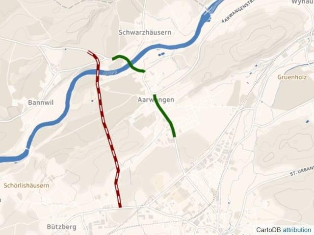 Karte mit eingezeichneter Umfahrungsstrasse ausserhalb von Aarwangen