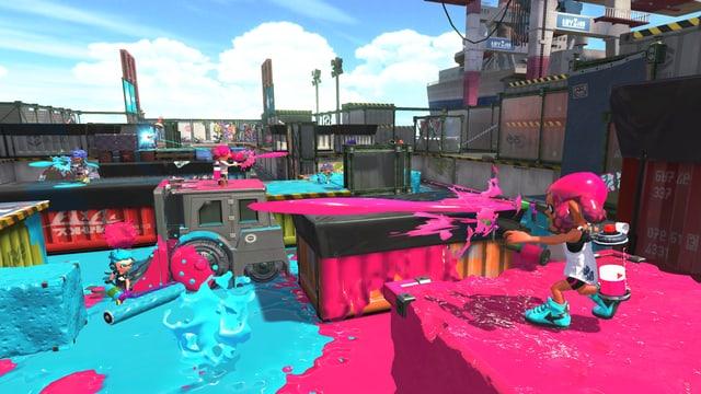 Unser Team ist Pink, das andere hellblau.