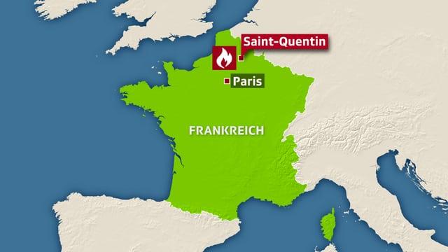 Kartenausschnitt, Saint-Quentin und Paris sind eingezeichnet.