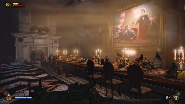 Ein Wandgemälde zeigt das Attentat auf Lincoln.