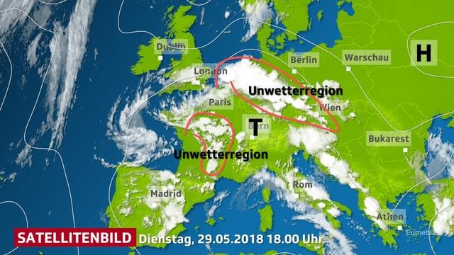 Wolkenverteilung in Europa auf dem Satellitenbild vom  Dienstag 29.05.2018