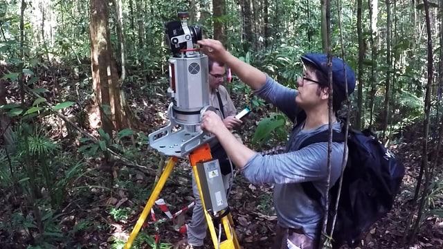 Zwei Männer hantieren mit Laser-Scanner im Wald.