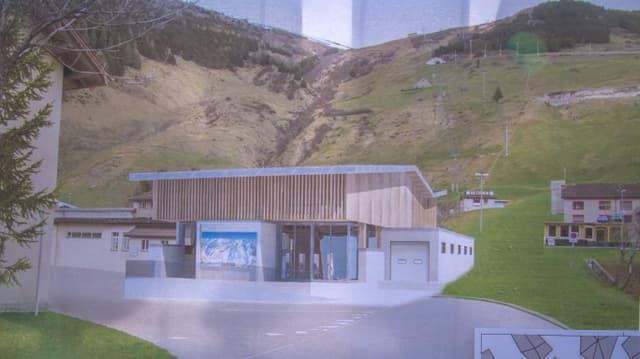 Visualisaziun da la nova staziun a val ad Andermatt/Ursera.