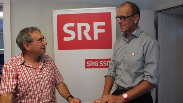 Josef Manser (li) und Martin Pfister (re) im SRF-Studio
