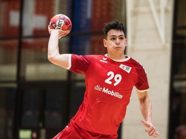Samuel Zander und die Schweizer Handball-Nationalmannschaft.