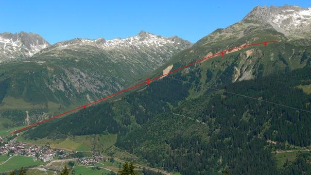 La pendiculara maina sur il vitg da Sedrun via Cungieri sin il Culm da Vi (en il territori da skis da Mustér)