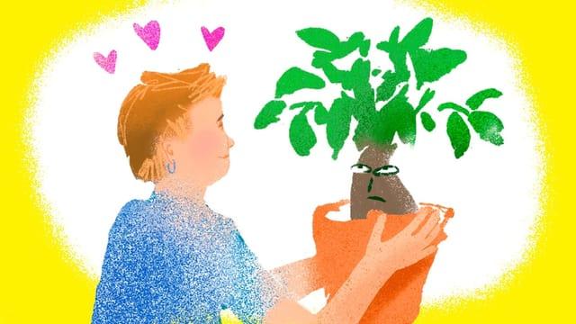 Illustration: Frau Hält einen Topf mit einem Bonsai