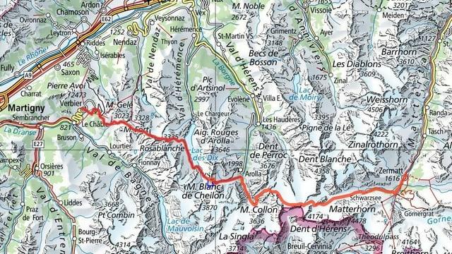 Karte mit der eingezeichneten Route.