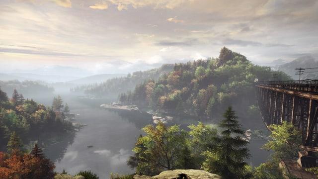 Ein Panorama mit See, Wäldern und einer alten, hölzernen Eisenbahnbrücke.