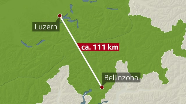 Karte Entfernung Luzern - Bellinzona
