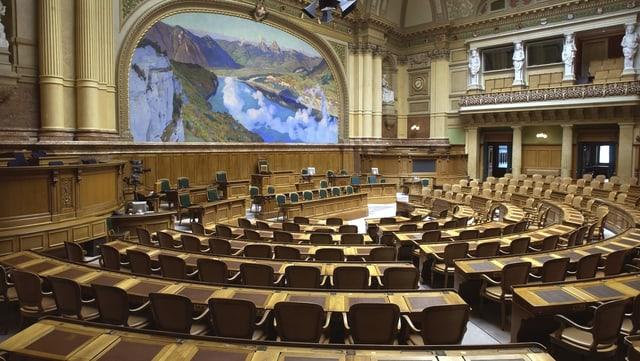 Leerer Nationalratssaal in Bern.