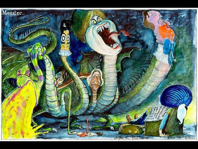 Englische Politiker, als Monster in einem Cartoon dargestellt.