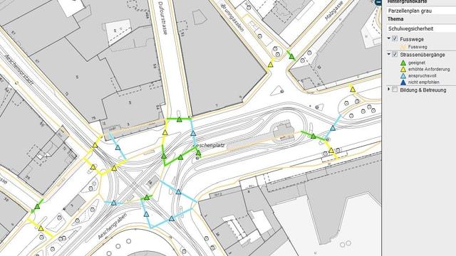 Ausschnitt aus dem neuen Basler Stadtplan für Schulweg