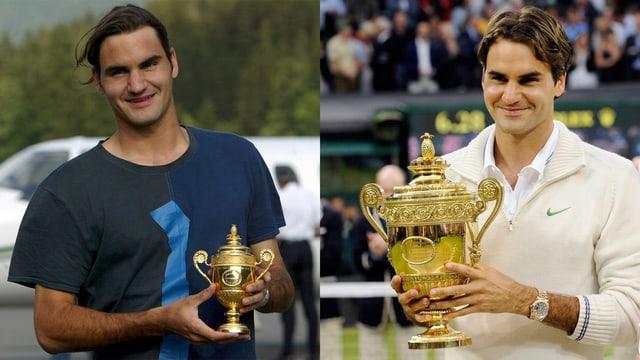 Roger Federer mit Baby-Pokal (links) und Original (rechts).