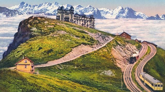 Historische Ansicht der Rigi mit Alpenkette im Hintergrund.
