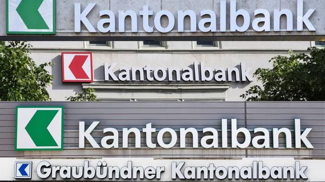Vier Logos der Kantonalbanken