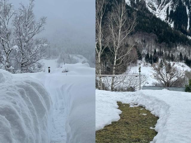Zwei Bilder: Verschneite Landschaft und nach Föhn nur noch wenig Schnee am selben Ort.