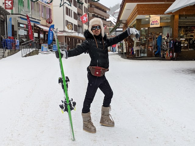 In dieser Disziplin ist Fabio Nay besonders stark: Après-Ski!