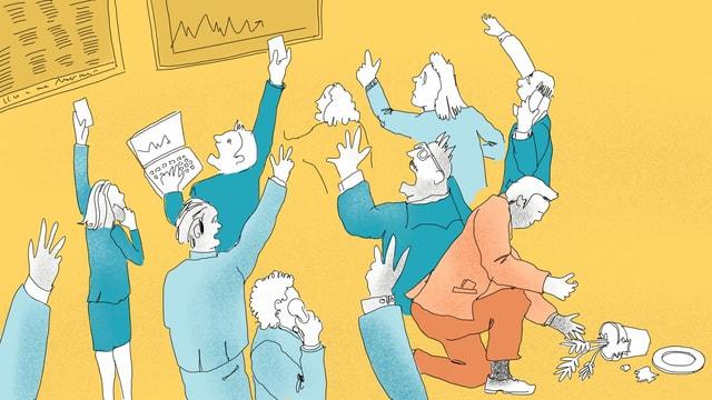 Eine Illustration zeigt den Handel an der Börse - viele Menschen schreien und haben die Hände in der Luft.