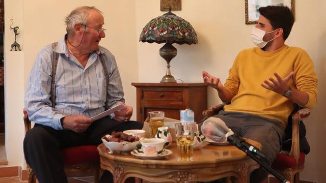 Cla Denoth cun il reporter Gian CArlo Candinas