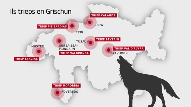 Ina charta geografica ch'inditgescha ils trieps da lufs en il Grischun.