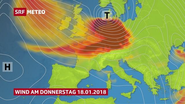 Eine Europakarte zeigt die Zone mit kräftigem Wind.