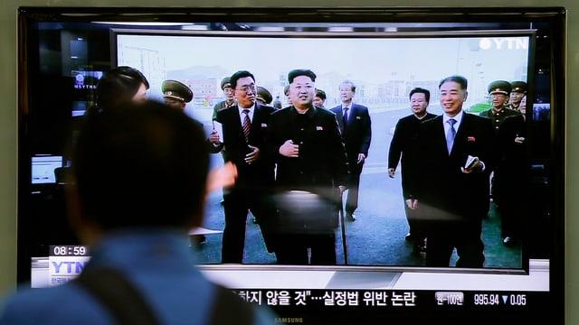 Kim Jong Un e co da vesair en la televisiun