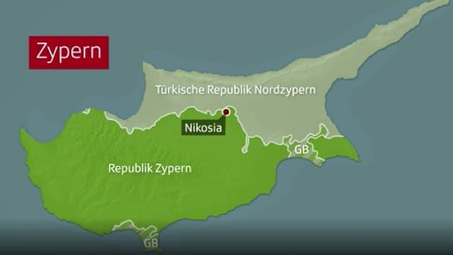 Karte von Zypern.