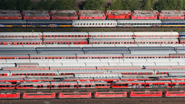 Blick in ein Zugdepot in Hamm/Nordhrein-Westfalen