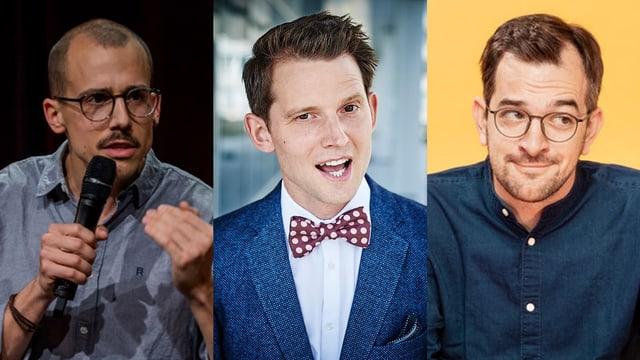 Von links: Die Comedians Fabian Rütsche, Fabian Unteregger und Kilian Ziegler.