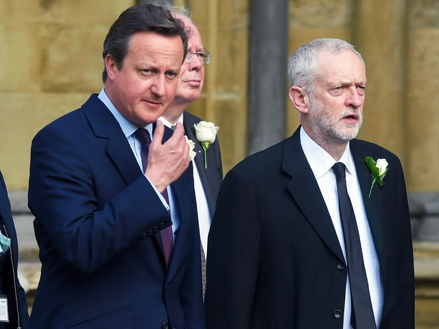 Der konservative Premier David Cameron und Labour-Führer Jeremy Corbyn