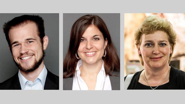 Porträts der drei Chat-Experten.