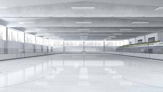 Visualisierung der neuen Eissporthalle mit einer grossen, gedeckten Eisfläche